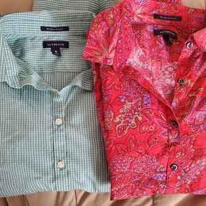 Two Lands End button up shirts. Women's size 16.